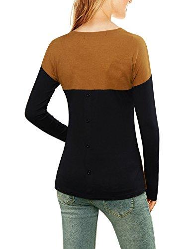 Allegra K DamenBlock Seite Schlitz Getäfert dünn geeignet gewellt Spitze Hemd de Braun