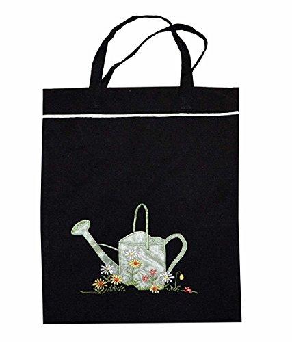 Preisvergleich Produktbild Ying-Sing Chang Einkaufstasche schwarz mit Stickerei und Gießkanne als Applikation