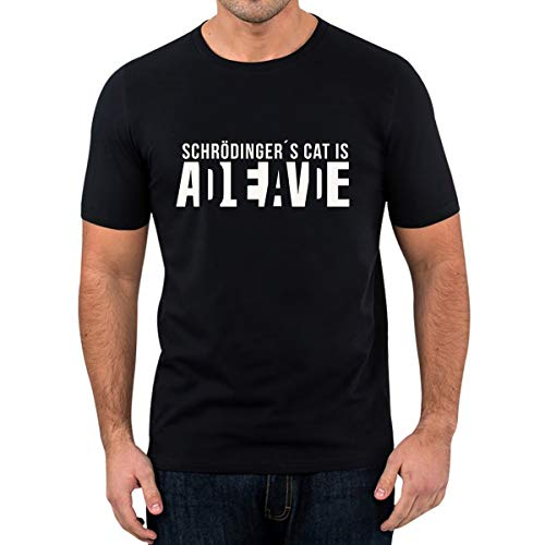 T-Shirt Schrödingers Cat Lustige Fun Spruch Cat is Alive and Dead (M)
