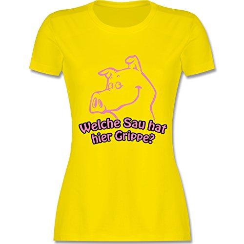Symbole - Welche Sau hat hier Grippe - tailliertes Premium T-Shirt mit Rundhalsausschnitt für Damen Lemon Gelb