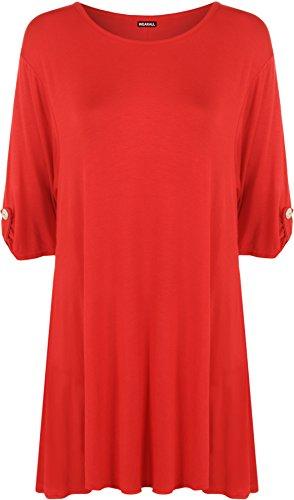WearAll - Damen Übergröße Turn-Up Knopf Kurzarm Top - 11 Farben - Größe 44-50 Rot