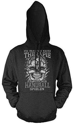 Uglyshirt89 Therapie Skull Handball Männer und Herren Kapuzenpullover   Sport Totenkopf     (L)