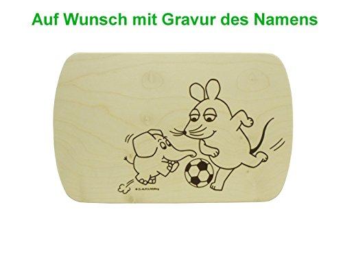 Fußball-schneidebrett (Frühstücksbrett Schneidebrett mit Gravur 24x15cm Maus Elefant Fussball TV Serie
