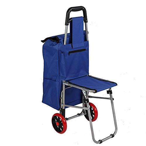 HIGHKAS Zusammenklappbarer Einkaufswagen mit zusammenklappbarem Einkaufswagenwagen mit Blauer Tasche
