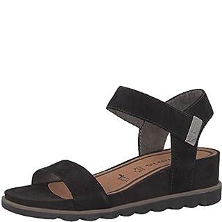 Tamaris 1-1-28031-22 Women Wedge Sandals,Sandals,Wedge Sandals,Summer Shoes,Comfortable,Flat,Touch-IT,Black,38 EU,38 EU