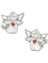 CLEVER SCHMUCK Silberne Ohrstecker Kinderengel 7 mm glänzend poliert mit Herz rot lackiert und glänzend STERLING SILBER 925