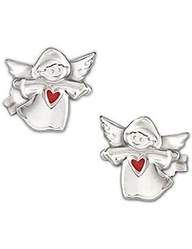 CLEVER SCHMUCK Silberne Ohrstecker Kinderengel 7 mm glänzend poliert mit Herz rot lackiert und glänzend STERLING...