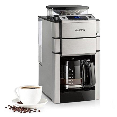 Klarstein Aromatica X Kaffeemaschine • 3-stufiges Mahlwerk • minutengenau einstellbarer Timer • LED-Display • Warmhaltefunktion • bis zu 12 Tassen • Edelstahl • inkl. Glaskanne und Zubehör • silber