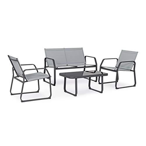 ARREDinITALY Set Salon d'extérieur avec Table en métal et textilène Gris