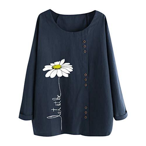 QIMANZI Langarmshirts Blusen Damen Beiläufig Übergröße Bluse Tops O-Neck Print Lose Taste Lange Ärmel T-Shirts Tuniken Pullover Sweatshirts(A Marine,5XL) (Ärmel Bluse Wrap)