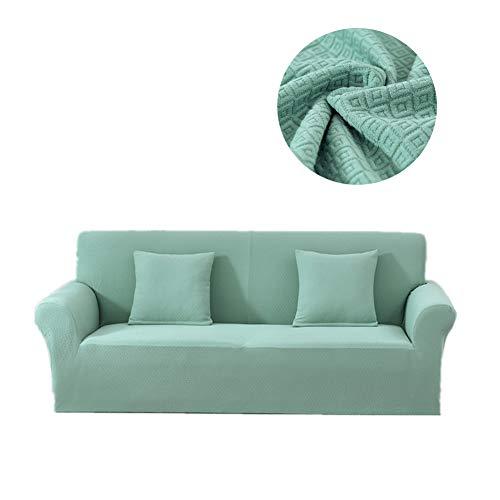 Encounter g copridivano jacquard serie di colori in tinta unita combinazione cuscino divano in pelle antiscivolo telo copridivano 3 posti copridivano pieghevole per divano,lightgreen,l