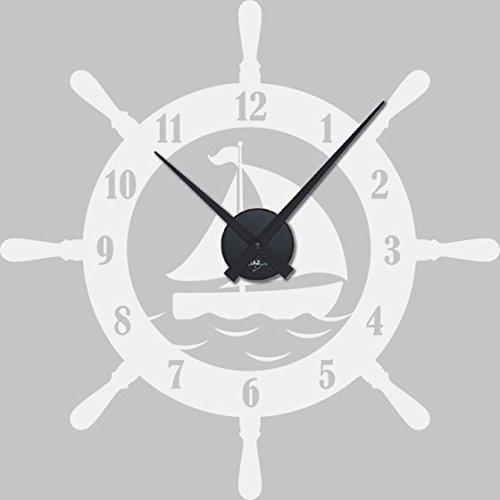 GRAZDesign 800547_BK_010 Wandtattoo Uhr mit Uhrwerk Wanduhr Badezimmer Steuerrad Schiff Maritim (57x57cm//010 weiss//Uhrwerk schwarz)