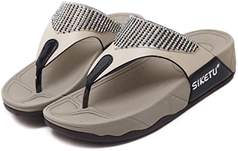 8cf8b33a96581 TieNew Women Women Women Summer Wedge Platform Flip Flops Toe Post Sandals  Boho Rhinestone Beaded Shoes