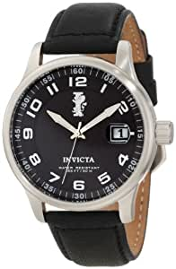 Invicta I-Force Men's Quartz Watch with Black Dial  Analogue display on Black Leather Strap 12822