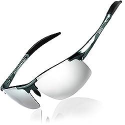 DUCO Herren Sportbrille Polarisierte Sonnenbrille Fahrerbrille 8177S (Gunmetal, Mercury Spiegel)