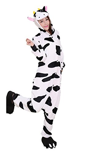 Pyjama Kostüm Kuh - Unisex Pyjamas Tier Schlafanzug Kostüm Overall Cosplay Karneval Jumpsuit (Kuh, S)