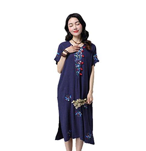 Frauen Plattenknöpfe Baumwolle Kurzarm-Sommerkleid Mehrfarbig Multi-size Blue