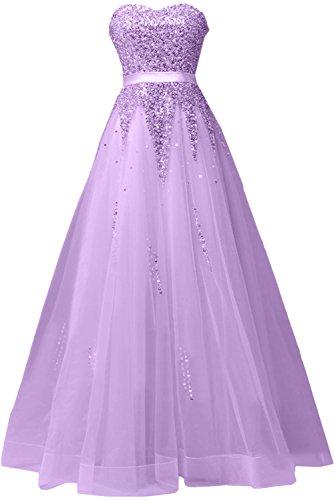 Sunvary Damen Neu Herzform Paillette Tuell Abendkleider Promkleider Ballkleider Lang Lilac
