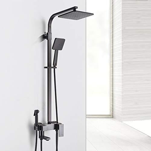 Tan 9-Zoll-Schwarz-Badezimmer-Duschsystem, All-In-One-Regendusche-Mischbatterie-Set Luxuriöse, Höhenverstellbare, Freiliegende Quadratische Messingdose Mit Drehbarem Wasserhahn Und Auslassdusche
