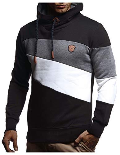 LEIF NELSON Herren Pullover-Hoodie Schalkragen | Moderner Sweatshirt-Kapuzenpullover | Männer Pulli Slim Fit|8245;3XL;SC
