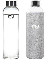 MIU COLOR–® Elegante portátil botella de cristal con funda de nailon Botella para Auto, gris, onhe Teesieb