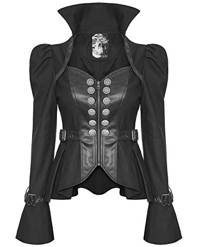 Punk Rave Mujer Gótico Militar Chaqueta Negro Piel Sintética Steampunk distópico - Negro, S: UK Womens Size 8
