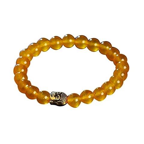 Oyedens Obsidienne Bracelet Bouddha TêTe Bracelet En Or Lave Pierre Perle Bracelets, Jaune
