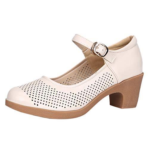 Lucky Mall Frauen Einfarbige Durchbrochene Lederschuhe, Damen Sandalen mit Niedrigem Absatz Sommer Atmungsaktives Sandalen Mode Tanzschuhe Bequeme Freizeitschuhe