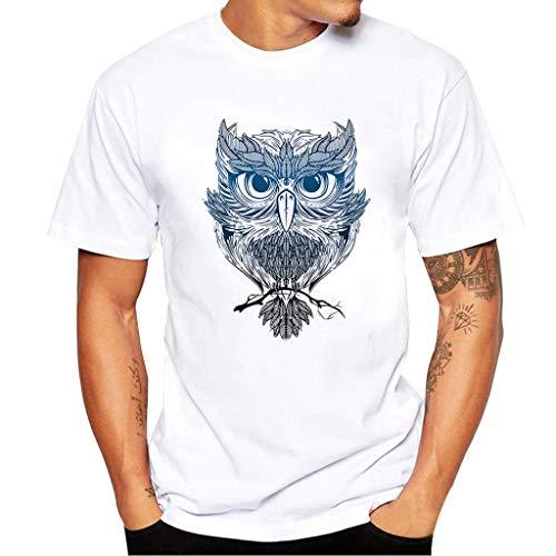 Beikoard Herren T-Shirt Drucken Skull Rundhals Tee Mode Sommer Kurzarm T-Shirt Bluse Horror Grafik-T-Shirt (Weiß-3, L3) -