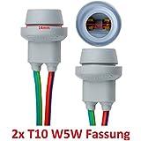 L & P B5782x T10W5W goma Capacidad goma Casquillo portalámparas Socket de cristal para W2,1x 9,5d. Bombillas incandescentes Bombillas Lámpara