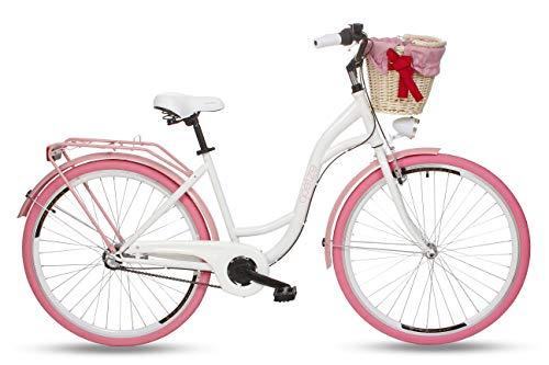 Goetze Colours 28 Zoll Damen Citybike Stadtrad Damenfahrrad Damenrad Hollandrad Retro-Design 3-Gang Korb Hinterradbremse LED-Beleuchtung Weiß-Rosa