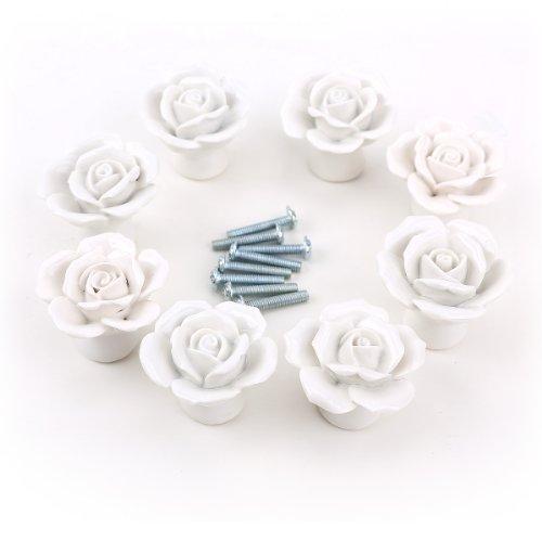 8er Design Weiss Rose Porzellan Möbelknopf Möbelknöpfe Möbelgriffe Möbelknauf Griff Knopf Schrankgriff Dekoraktion