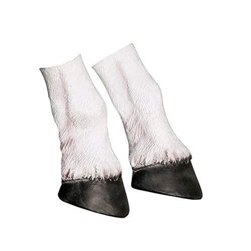 Cusfull Weiß Einhorn Kopf Maske, Einhornmaske Einhorn Latex Fasching Knopf Maske Vollmaske Tiermaske für Halloween Cosplay Kostüm … (Einhorn HUF)