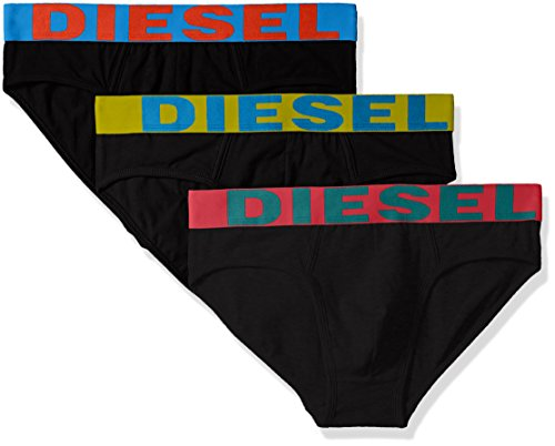 Diesel Herren Umbr-ANDRETHREEPACK Logo Waistband Slip 3pack Unterhose, Schwarz/Mehrfarbig, X-Large Logo Slip