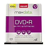 ‏‪DVD+R Discs, 4.7GB, 16x, Spindle, Silver, 100/Pack‬‏