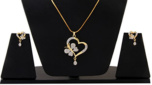 Valentine Gift: Sitashi Heart Shape AD and Gold plated Big Size Pendant Set for Girls and Women