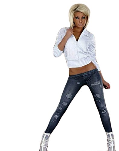 Jeans-Look-Leggings-Pantalones-Leggings-leggins-tubo-Treggings-Jeggings-de-las-NUEVAS-mujeres-de-impresin-negro