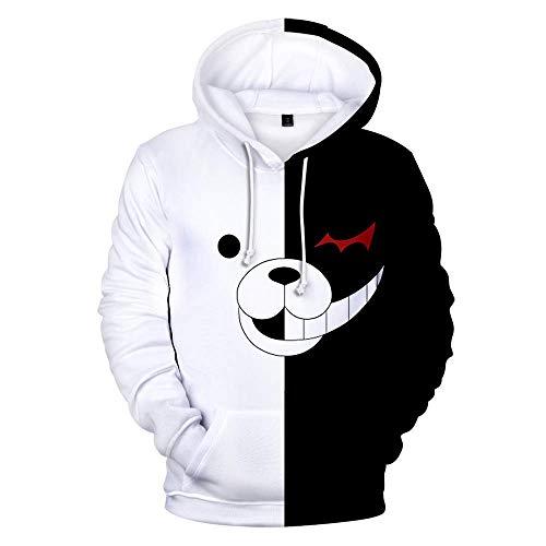 XH 3D Männer Und Frauen Hoodie Danganronpa Monokuma Hoodie Cartoon Schwarz Und Weiß Bär Cosplay Kostüm Hoodie Weihnachten (Größe: - Schwarze Und Weiße Frauen Kostüm