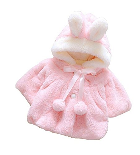 Butterme Baby Kind Kleinkind starke warme Pelz Fleece mit Kapuze Cape Umhang Poncho Mantel outwear Mantel Weihnachtsgeschenk (6-12 Monate,Rosa)