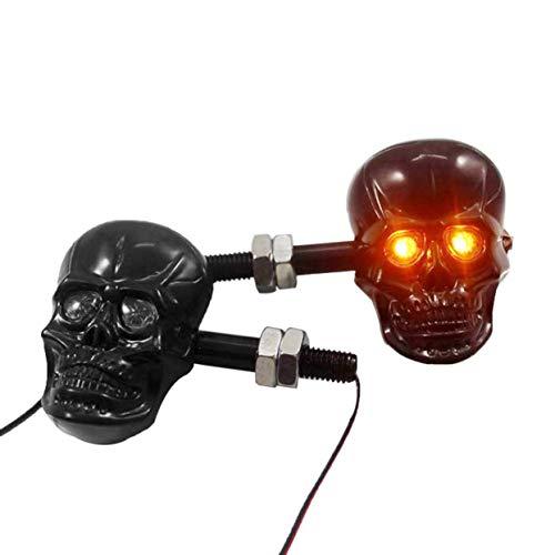 Accessoires de modification de moto personnalisés Punk Skull Shape Clignotants indicateurs Feux Fit pour la plupart moto