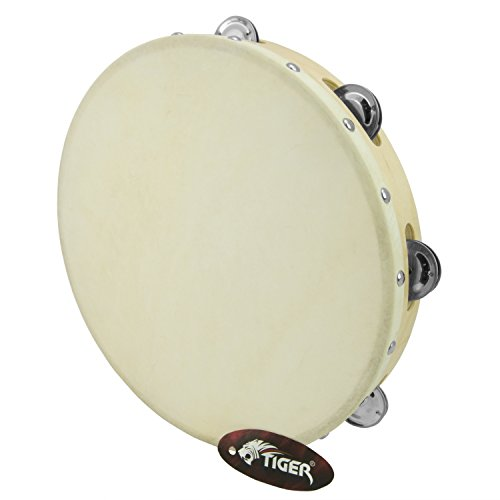 "Tiger 12"" Single Row Tambourine - Wooden Tambourine"