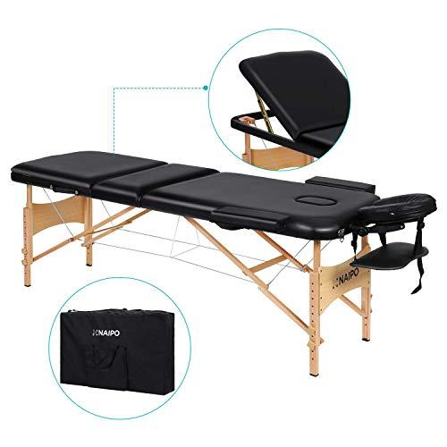 Naipo Massageliege Tisch Bett Behandlungsliege mit 3 Zonen tragbaren höhenverstellbaren Holzfüßen Einfache Installation Ergonomische Kopfstütze mit Tragetasche Tattoo Salon Spa Gesichtspflege