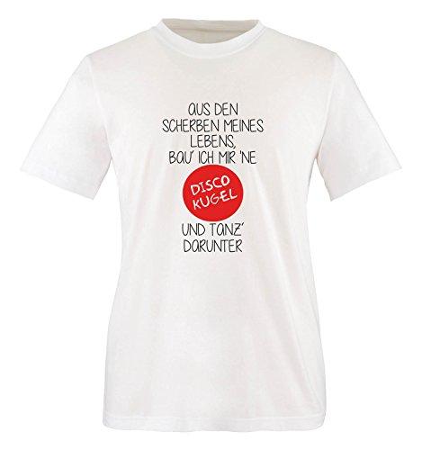 Comedy Shirts - Aus den Scherben meines Lebens, BAU ich Mir ne Disco Kugel und Tanz darunter - Jungen T-Shirt - Weiss/Schwarz-Rot Gr. 110/116