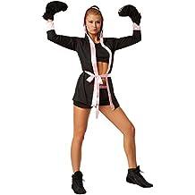 dressforfun Disfraz para mujer Boxeadora | Disfraz de boxeador con pantalón corto, top, abrigo