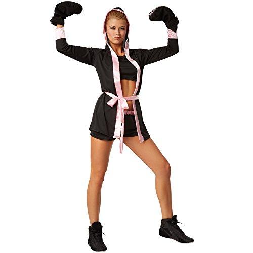 stüm Boxerkostüm mit Short, Top, Mantel mit Kapuze, Gürtel und Boxhandschuhen (M   Rosa   no. 301825) ()