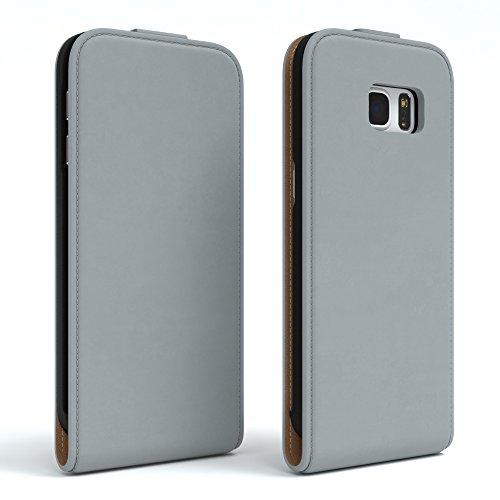 Samsung Galaxy S7 Hülle - EAZY CASE Premium Flip Case Handyhülle - Schutzhülle aus Leder zum Aufklappen in Anthrazit Hellgrau