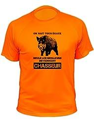 "Tee shirt chasse ""On nait tous égaux"" Sanglier"