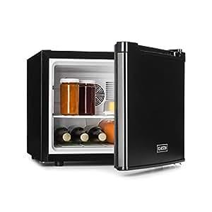 Klarstein Manhattan • mini frigo bar • A • 35 L • ca. 45 x 39 x 52,5 cm • silenzioso • 1 ripiano • temperatura regolabile 3 livelli • peso: 11 kg • ferma-porta intercambiabile • nero