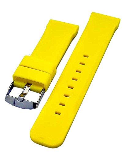 Uhrenarmband Silikon Kautschuk 24mm Taucher gelb 3826