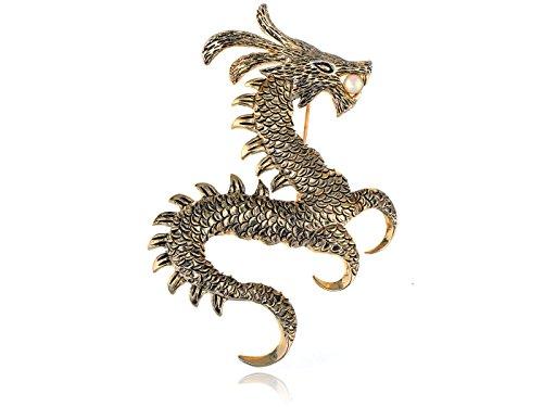 Alilang Frauen Goldtone Faux Perlen alte Tierkreis Drache Monster Brosche